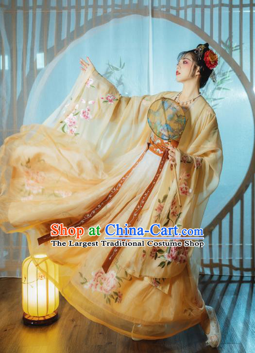 Ancient China Imperial Consort Costumes Traditional Tang Dynasty Palace Lady Yellow Hanfu Dress Embroidered Clothing Complete Set