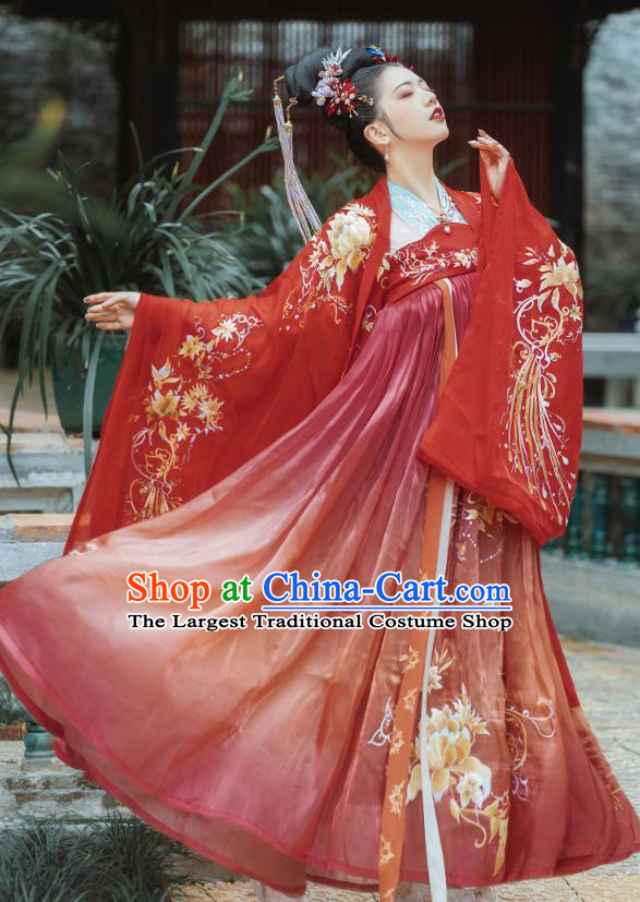 China Ancient Tang Dynasty Palace Lady Costumes Traditional Red Hanfu Dress Embroidered Classical Dance Clothing