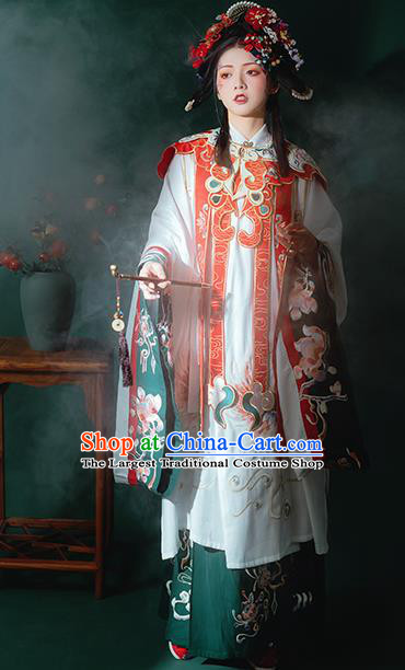 China Ancient Ming Dynasty Court Princess Embroidered Costume Traditional Palace Hanfu Clothing for Women