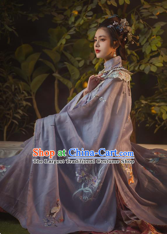 Traditional China Ming Dynasty Noble Countess Lilac Hanfu Dress Ancient Imperial Consort Historical Clothing