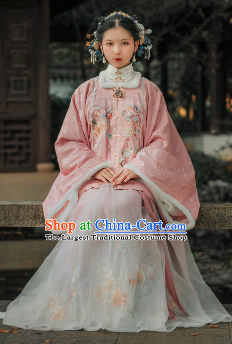 Ancient China Imperial Mistress Historical Clothing Traditional Hanfu Ming Dynasty Court Woman Noble Countess Winter Costumes