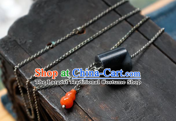 Handmade China Traditional Black Jade Necklace Pendant National Women Silver Jewelry Red Agate Gourd Accessories