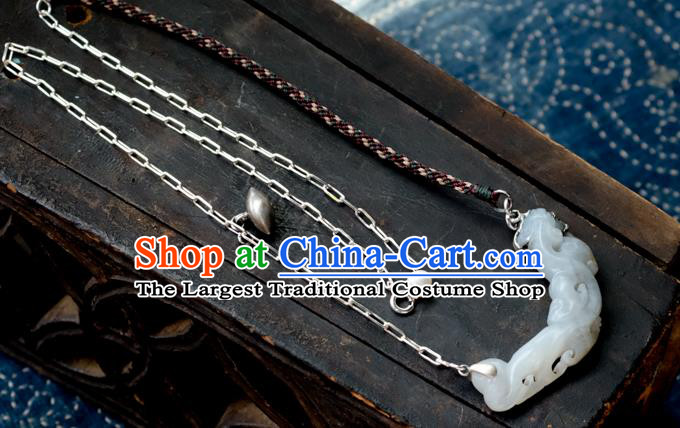China Traditional White Jade Necklace Handmade Jewelry Accessories
