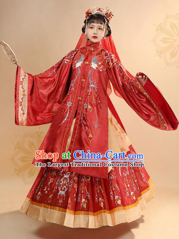 China Ancient Bride Wedding Red Hanfu Dress Traditional Ming Dynasty Royal Princess Historical Clothing for Women