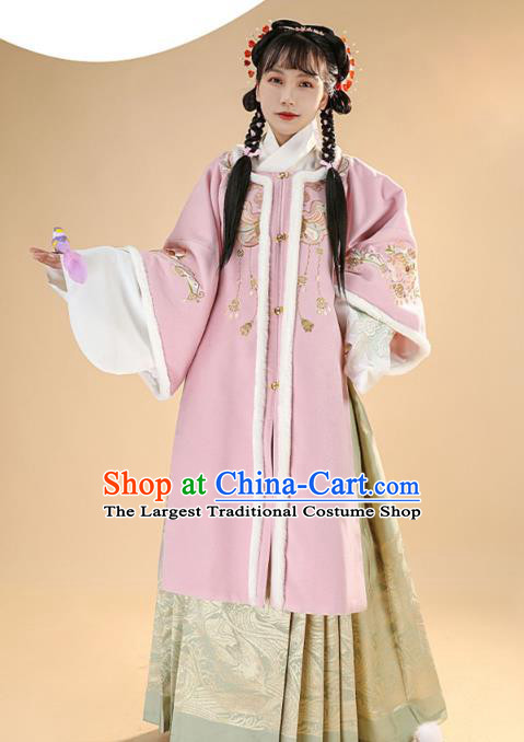 China Ming Dynasty Young Lady Hanfu Dress Traditional Ancient Noble Mistress Historical Winter Clothing Complete Set
