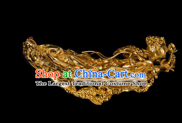 China Traditional Yuan Dynasty Court Golden Hair Stick Handmade Hair Accessories Ancient Empress Hairpin