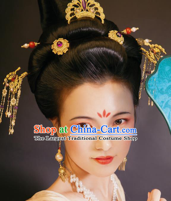 China Tang Dynasty Imperial Concubine Hairpins Ancient Court Woman Hair Jewelry Accessories Full Set