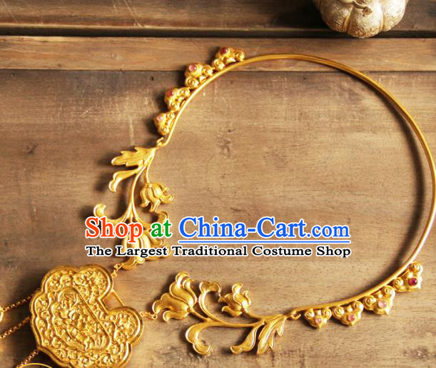 China Handmade Ming Dynasty Golden Necklace Ancient Wedding Longevity Lock