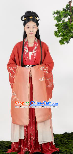 China Traditional Wedding Red Hanfu Dress Tang Dynasty Historical Clothing Ancient Princess Garment