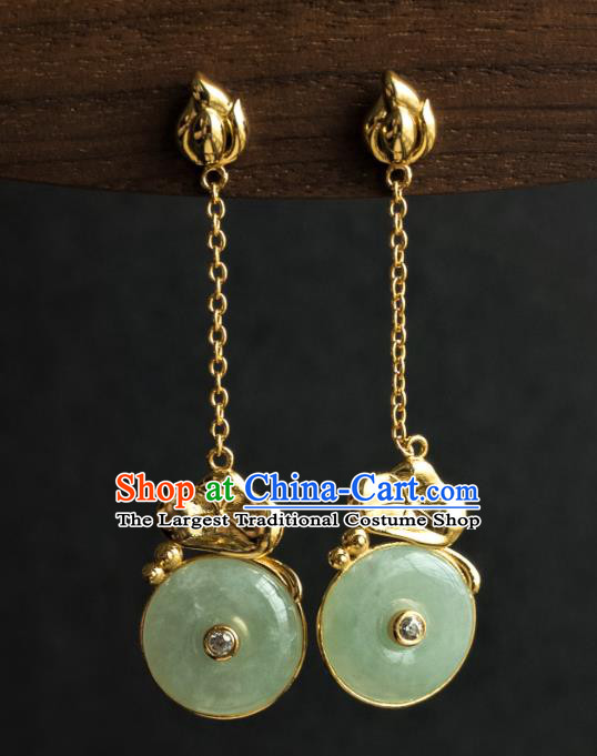 China Ancient Court Lady Jade Ear Jewelry Traditional Ming Dynasty Imperial Concubine Lotus Leaf Earrings