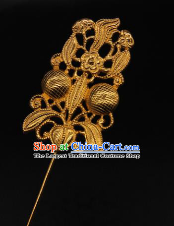 China Traditional Court Hair Accessories Ancient Empress Golden Hair Stick Handmade Yuan Dynasty Flowers Hairpin