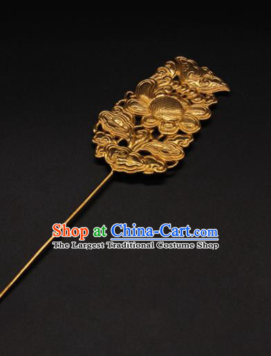China Ancient Empress Flowers Hair Stick Traditional Court Hair Accessories Handmade Yuan Dynasty Golden Hairpin