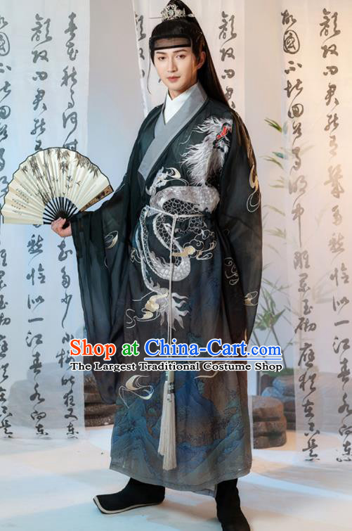 China Ancient Prince Embroidered Clothing Traditional Ming Dynasty Swordsman Black Robe Costumes for Men