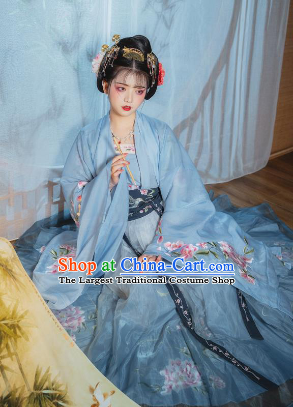 China Ancient Palace Princess Embroidered Clothing Traditional Blue Hanfu Dress Tang Dynasty Court Lady Costumes