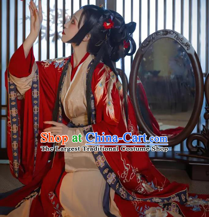 China Jin Dynasty Historical Clothing Traditional Wedding Embroidered Hanfu Dress Ancient Imperial Consort Costumes Full Set