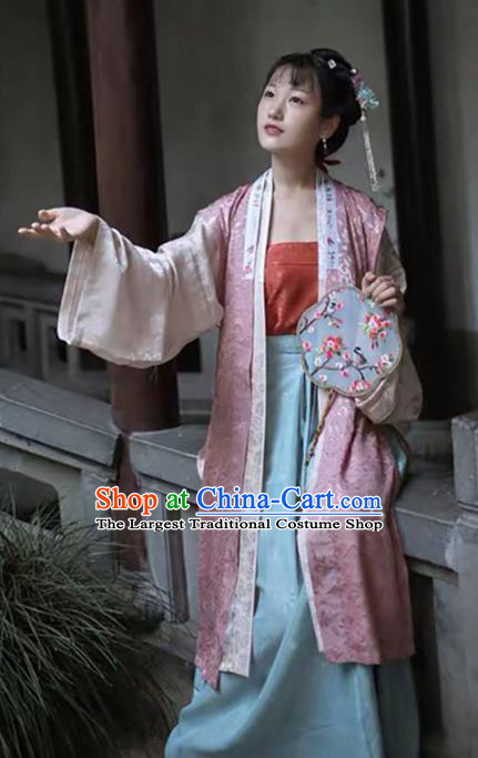Traditional China Song Dynasty Noble Lady Historical Clothing Ancient Court Beauty Hanfu Dress Full Set