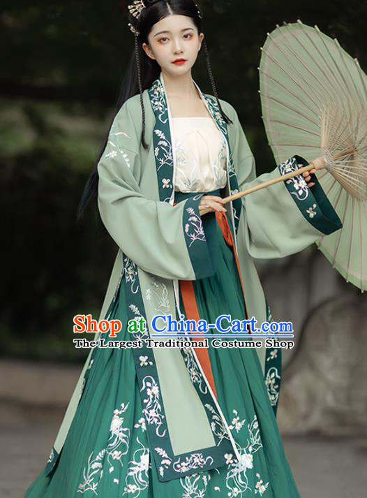China Song Dynasty Young Lady Historical Clothing Ancient Village Girl Costumes Traditional Green Hanfu Dress