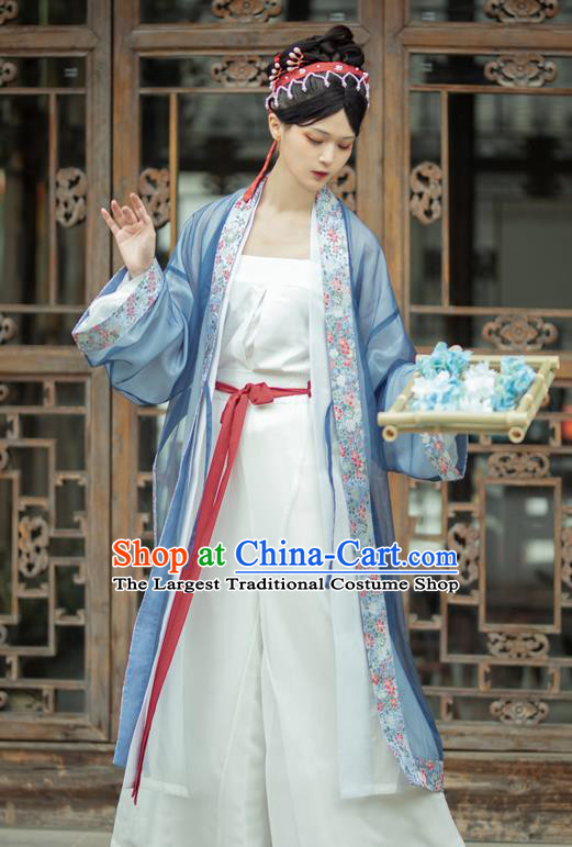China Traditional Song Dynasty Court Woman Hanfu Costume Ancient Imperial Concubine Historical Clothing