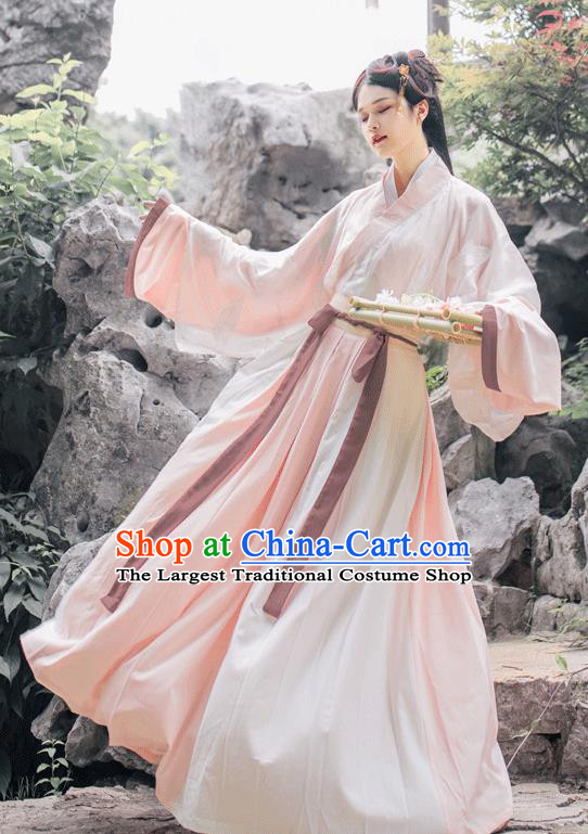 China Jin Dynasty Female Swordsman Pink Costume Traditional Hanfu Dress Ancient Young Lady Historical Clothing Full Set