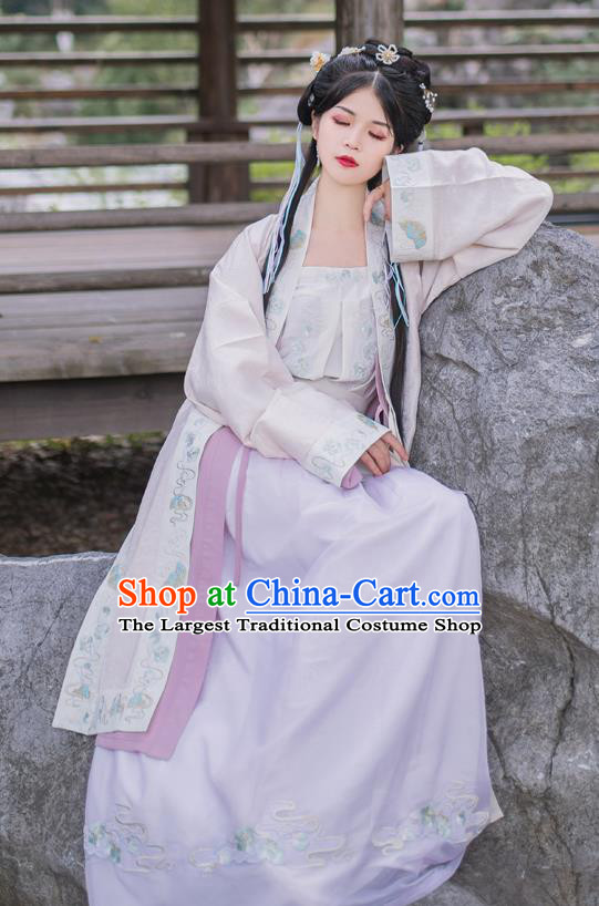 China Song Dynasty Young Beauty Historical Clothing Traditional Costume Ancient Hanfu Dress for Women