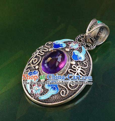 China Handmade Amethyst Silver Necklace Pendant Traditional National Jewelry Accessories