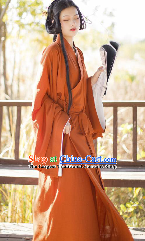 China Traditional Hanfu Dress Ancient Jin Dynasty Palace Beauty Historical Clothing