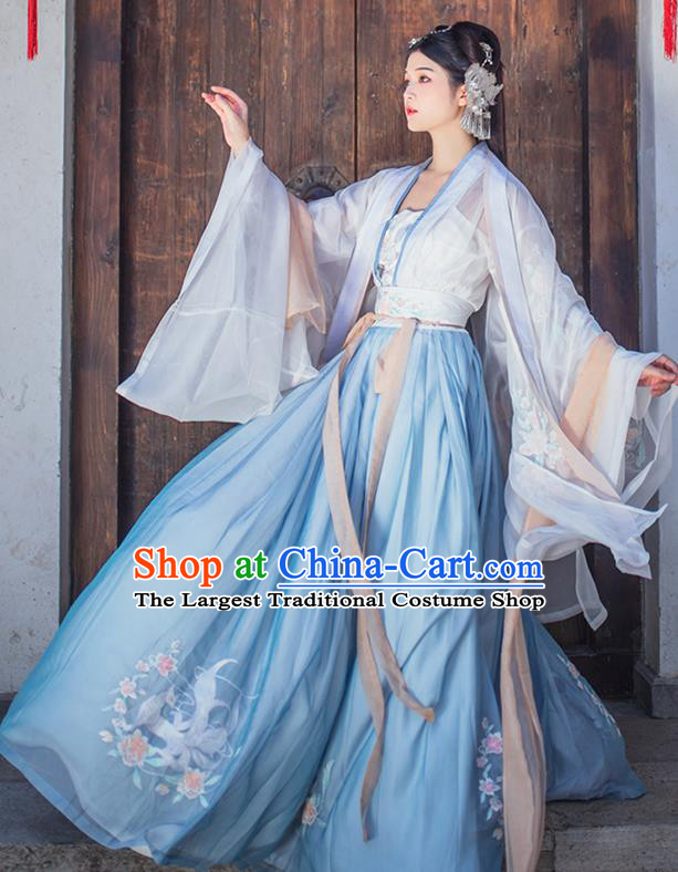 China Ancient Imperial Concubine Blue Embroidered Hanfu Clothing Traditional Tang Dynasty Palace Historical Costumes for Women