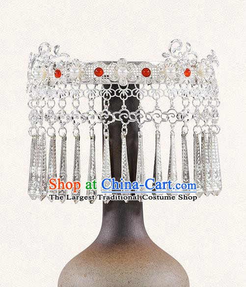China Tang Dynasty Argent Tassel Hair Crown Traditional Hanfu Hair Accessories Ancient Princess Hairpins
