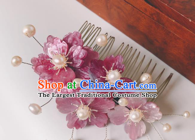 China Song Dynasty Hair Comb Traditional Hanfu Court Pearls Hair Accessories Ancient Princess Pink Flowers Hairpin