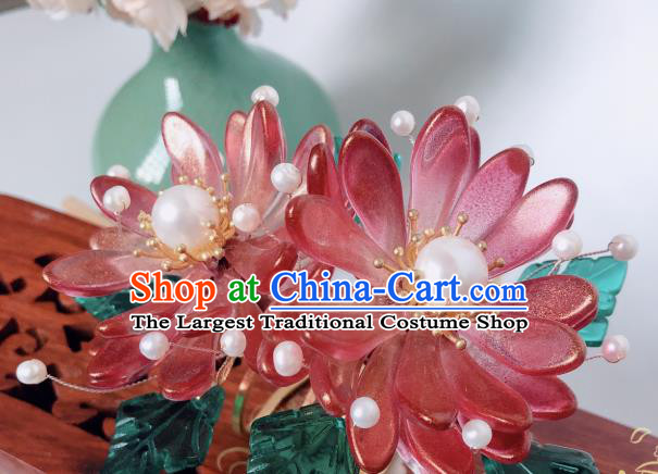 China Song Dynasty Princess Red Chrysanthemum Hair Comb Traditional Hanfu Hair Accessories Ancient Court Hairpin
