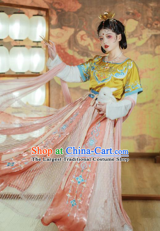 Traditional China Tang Dynasty Court Lady Dance Clothing Ancient Palace Princess Embroidered Hanfu Dress