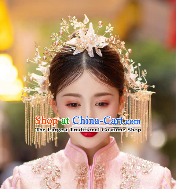 China Traditional Wedding Headwear Handmade Xiuhe Suit Bride Hair Accessories Hairpins Hair Comb Complete Set