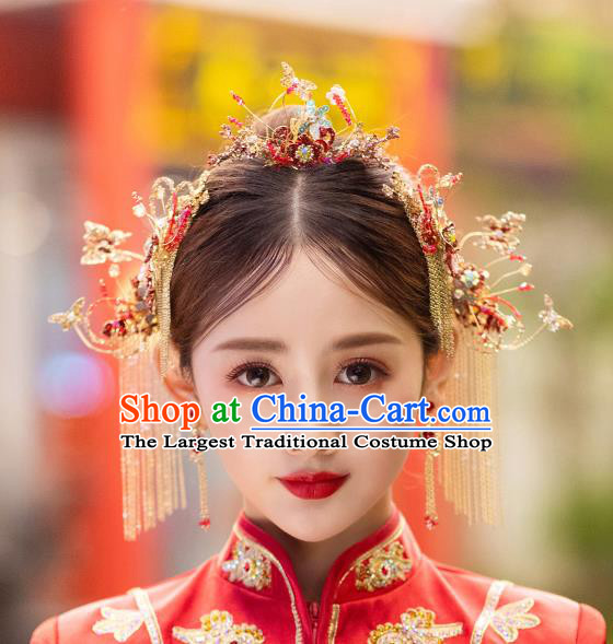 China Handmade Xiuhe Suit Bride Hair Accessories Hairpins Hair Comb Traditional Wedding Headwear Complete Set