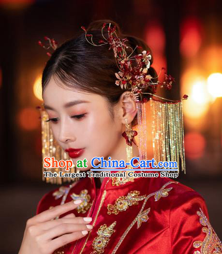 China Handmade Wedding Headwear Traditional Xiuhe Suit Bride Hair Accessories Hairpins Tassel Hair Sticks Complete Set