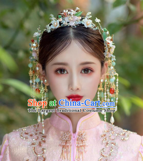 China Bride Tassel Hair Clasp Traditional Handmade Xiuhe Suit Phoenix Coronet Wedding Hair Accessories