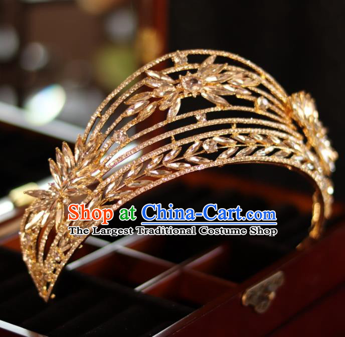 Top Bride Golden Jewelry Ornaments Handmade Princess Hair Accessories Wedding Crystal Royal Crown