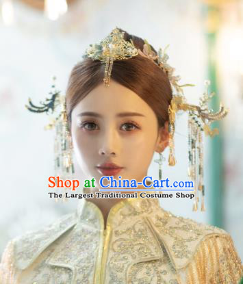 China Traditional Hair Crown Handmade Xiuhe Suit Hair Accessories Wedding Bride Hair Jewelry Hairpins Full Set
