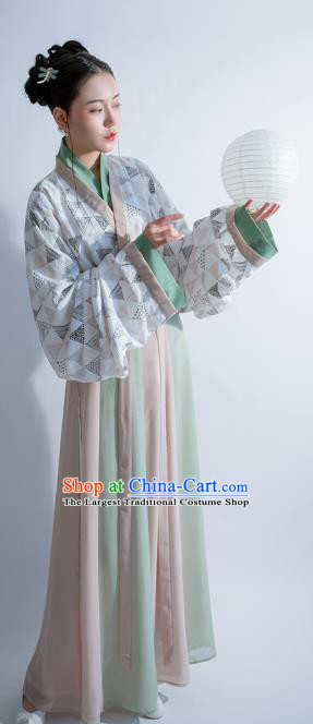 China Ancient Palace Lady Hanfu Dress Clothing Traditional Jin Dynasty Court Princess Historical Costumes