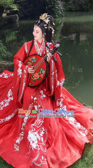 China Traditional Wedding Red Hanfu Dress Jin Dynasty Embroidered Costume Ancient Court Beauty Historical Clothing