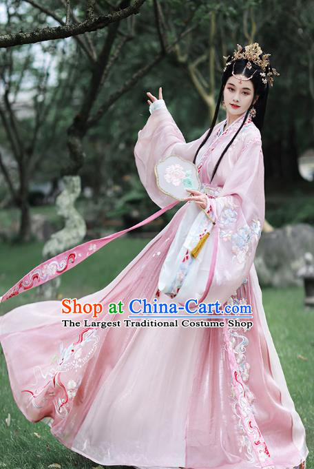 China Jin Dynasty Palace Beauty Costume Ancient Princess Historical Clothing Traditional Embroidered Pink Hanfu Dress