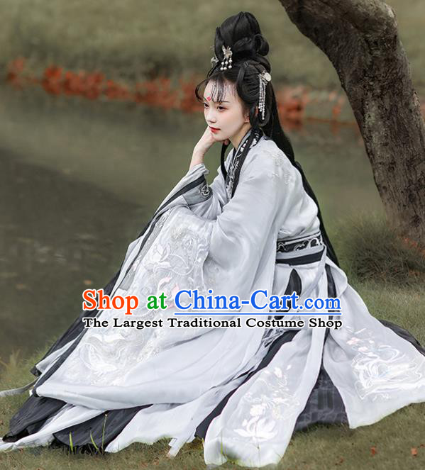 China Spring and Autumn Period Beauty Xi Shi Costume Ancient Imperial Concubine Hanfu Dress Historical Traditional Clothing