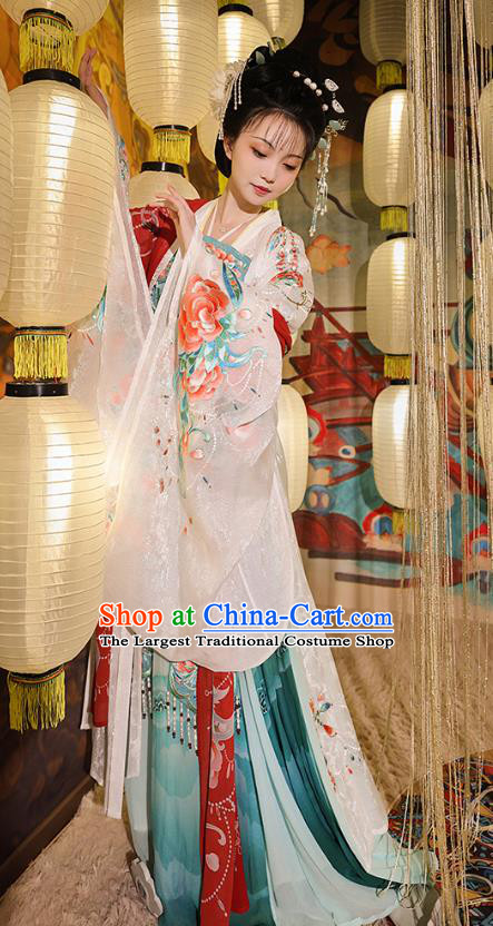 China Traditional Clothing Tang Dynasty Imperial Concubine Hanfu Dress Ancient Court Beauty Yang Yuhuan Historical Costumes