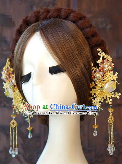 China Bride Hair Sticks Hair Accessories Traditional Wedding Xiuhe Suit Golden Osmanthus Tassel Hairpin