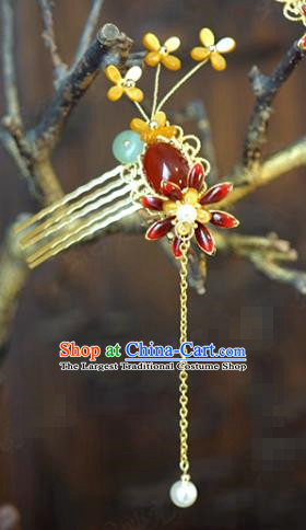 China Bride Agate Hairpin Hair Accessories Traditional Wedding Xiuhe Suit Golden Tassel Hair Comb