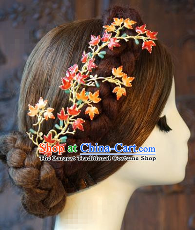 China Bride Maple Leaf Hair Stick Hair Accessories Traditional Wedding Xiuhe Suit Hairpins