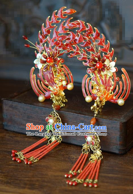 China Traditional Red Beads Tassel Hair Stick Wedding Xiuhe Suit Hair Accessories Bride Phoenix Hairpin