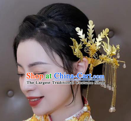China Traditional Golden Phoenix Hair Crown Wedding Xiuhe Suit Hair Accessories Bride Hairpin Tassel Step Shake