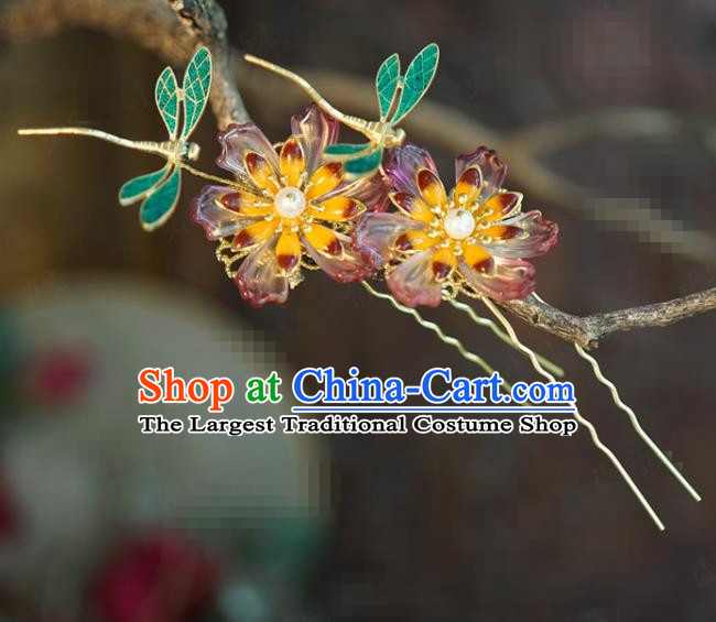 China Traditional Flower Hair Sticks Wedding Xiuhe Suit Hair Accessories Bride Blueing Dragonfly Hairpins