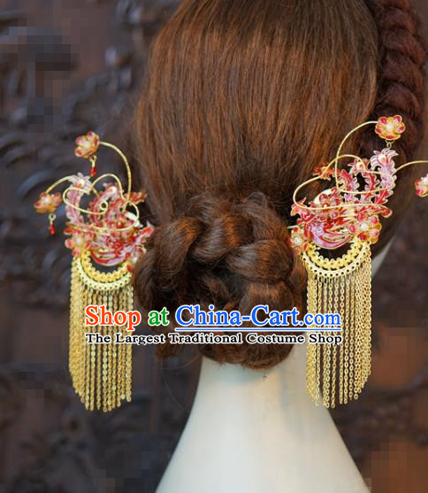 China Traditional Red Phoenix Hair Sticks Wedding Xiuhe Suit Hair Accessories Bride Golden Tassel Hairpins