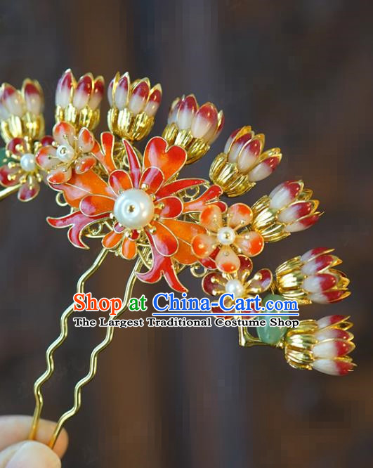 China Traditional Wedding Flowers Hair Stick Xiuhe Suit Hair Accessories Bride Plum Blossom Hairpin